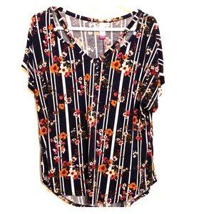 No Boundaries • navy floral striped shirt xL 15/17